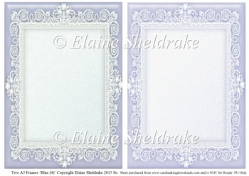 2 x A5 Blue (4) Lace Frames for Card Making & Scrapbooking