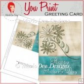 Teal & Tan Elegant Father's Day Full Greeting Card & Card Front