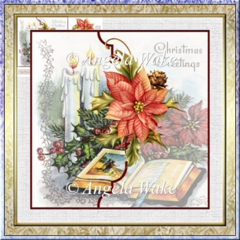 Christmas story 7x7 card with decoupage and sentiment tags