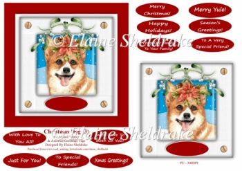 Christmas Puppy Dog (3) 6 x 6 Card Topper With Masses Of Greetin
