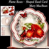 Flame Roses - Shaped Easel Card