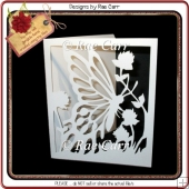 382 Butterfly & Flowers Card *Multiple MACHINE Formats*