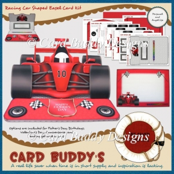 Racing Car Shaped Easel Card Kit