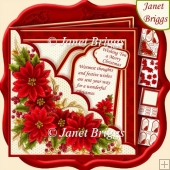 Square Scallop Pocket Christmas Poinsettia Decoupage Kit