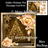Golden Christmas Tree Decoupage Card Front