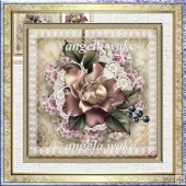 Rose dusk 7x7 card with decoupage