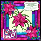 Stained Glass Orchid Window - Card Topper With Decoupage