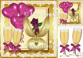 gold fabrege egg with pink rose, champagne & balloons 8x8