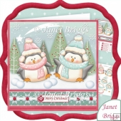 Happy Christmas Penguins 8x8 Decoupage Kit