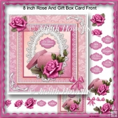 8 inch Rose And Gift Box Card Front