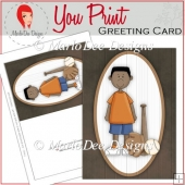 Baseball Boy 5x7 Full Greeting Card & Card Front 3