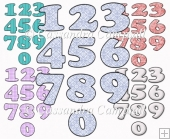 5 patterned number sets 0-9 set 2