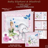 Baby Elephant & Bluebirds
