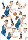 Basketball Dude Orange and Blue Decoupage Sheet