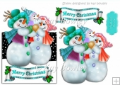 Lovely snow man family in turq over the edge card
