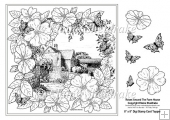 "Roses Around The Farm House 8"" x 8"" Digi Stamp With Decoupage"