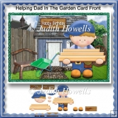 Helping Dad In The Garden Card Front