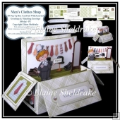 Men's Clothes Shop - 3D Pop Up Box Card Kit, Ass.Tags & Envelope