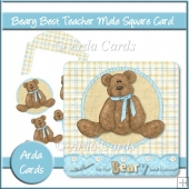 Beary Best Teacher Male Square Card