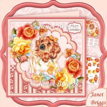 Coffee Pot Pup 8x8 Decoupage Kit