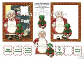 Cook & Holiday Elf - 4.5 x 5.5 US Size A2 Decoupage Card Topper