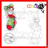 Santa in Stocking and Sentiment Digital Stamp