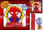 Super hero red in spider web 8x8 with topper
