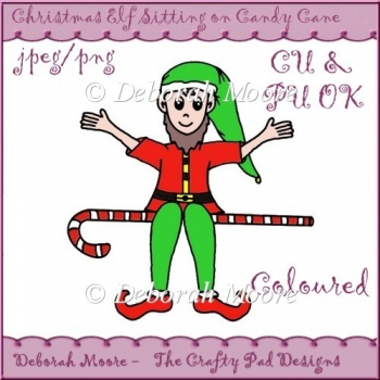 Christmas Elf Sitting on Candy Cane