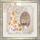 Celebrations 7x7 card with decoupage