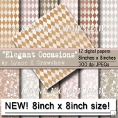 NEW SIZE - Elegant Occasions 12 pack of 8in x 8in digital papers
