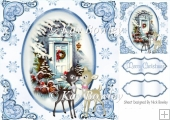 pretty front door with cute reindeers blue snowflakes 8x8