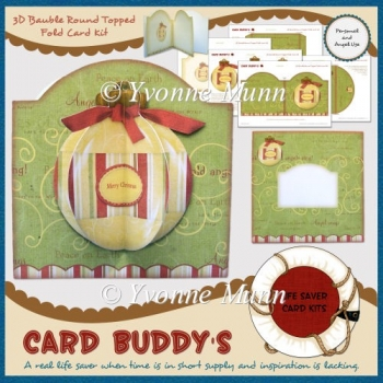 3D Bauble Round Topped Fold Card Kit