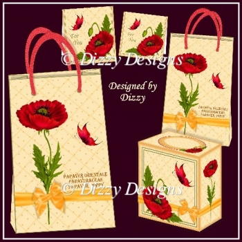 Poppy Gifts Bags with Gift Cards and Freebie Gift Box