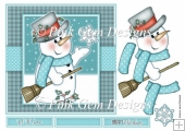 Chilly Snowman & Snowflake 7 x 7 in Topper