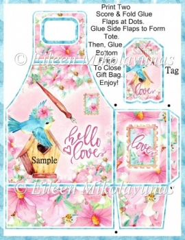 Valentine Hello Love Gift Tote and Tag Set