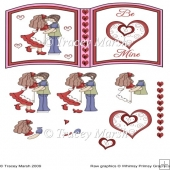 Be Mine Kissing Couple Valentine Open Book Page