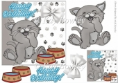 cute grey kitty with food bow bluel (small card two)