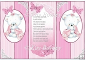 cute little white bear with pink butterflies pop out card