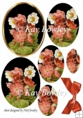 peach flowers oval pyramids with bow