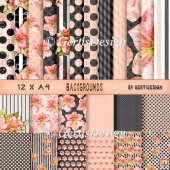 12 A4 Flower Stripes Dotts Black Grey Pink 158