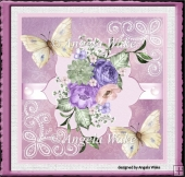 purple flowers and butterfly 7x7