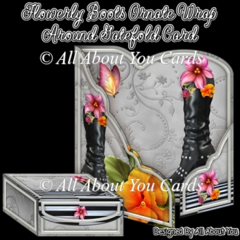 Flowery Boots Ornate Wrap Around Gatefold Card