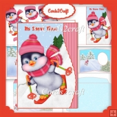 Wavy edge Penguin skiing card set