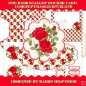 Red Roses Scallop Rocker Card