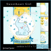 Cute little elefant topper card kit Boy