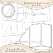Teardrop Card Kit & Envelope Template Commercial Use