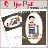 Baseball Boy 5x7 Full Greeting Card & Card Front 2