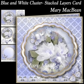 Blue and White Cluster - Stacked Layers Card