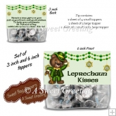Leprechaun Kisses 3 & 6 Inch Bag Toppers For Kiss Shaped Candy