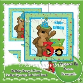 Birthday Benny 3 Corner Scallop Pyramage 6x6 Card Front